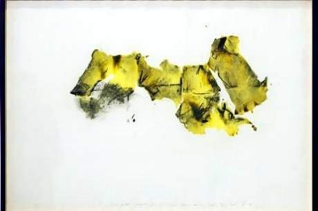 """Shawki Youssef, """"Arab world map — Construct/Re-construct,"""" 2013, Mixed media on paper, 70 x 100 cm"""