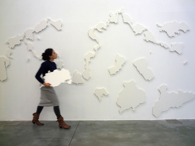 The New(er) Middle East Interactive puzzle; magnet, plastic, iron sheets, dimensions variable, panel length 6 m (2007)
