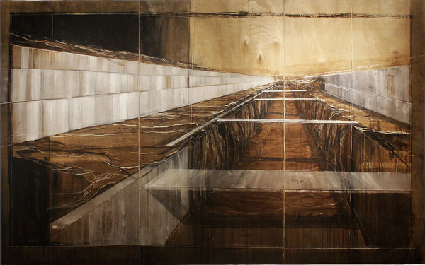 """Bridging the betweeness"" mixed media on wood, 300cmx180cm. Source."