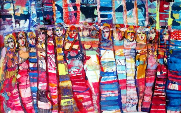'Textiles of a City' an oil painting by Najla Shawket Fitouri (Image courtesy of Noon Arts).  Source
